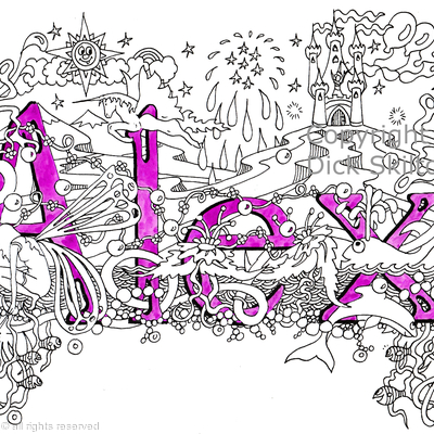 Alex (girls name) name art design as a greeting card. Prints available