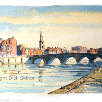 Worcester Bridge and the River Severn greeting card