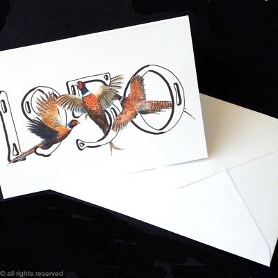 pheasant birthday card with year ( any year available, just ask)