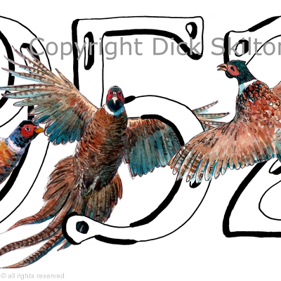 1952 Birthday card with three pheasants