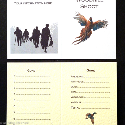 Wood Hill Shoot . Example of a shoot card with rising pheasant
