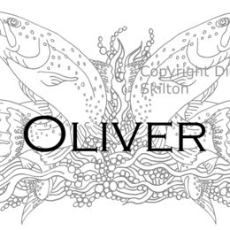 Oliver name card with four trout ( any name can be printed)