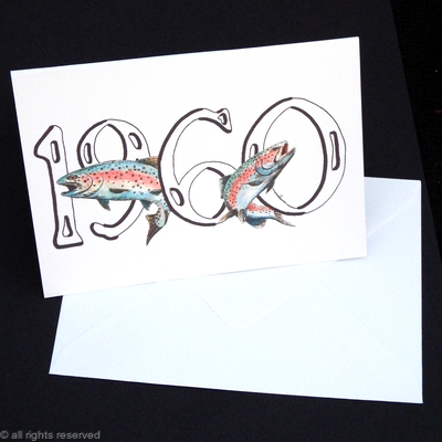 1960 birthday card with rainbow trout within the numbers