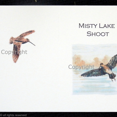Misty lake bespoke  shoot card with Snipe