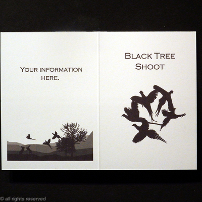 Black tree shoot example  of a shoot card with silhouette art work