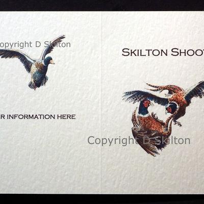 Fighting pheasants example bespoke shoot card