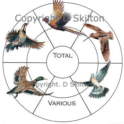 bird circle pheasant partridge duck snipe pigeon various, bird wheel for bespoke shoot card