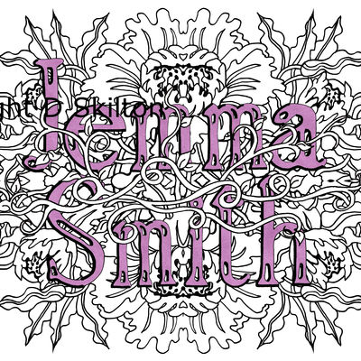 Example of a Peony design with female name and family name as a jpeg for you to copy and print as you wish
