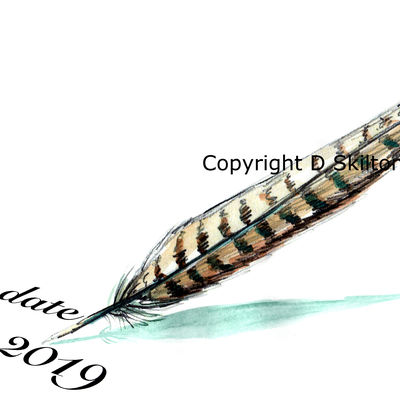 save the date design with pheasant pheather with any date and with your names on if you wish