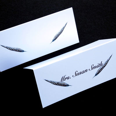 Place name cards with pheasant feathers names printed or clear for you to write