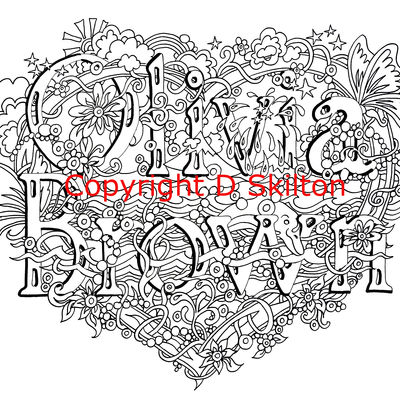 heart design with first name and family name example. Any names on this design sold as a jpeg or scan via email