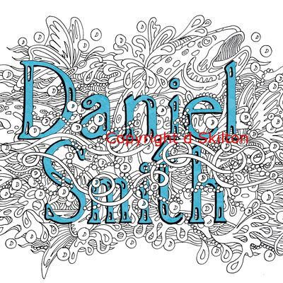 Fish two design with name example, any name in this style sold as a jpeg via email for you to use as you wish.