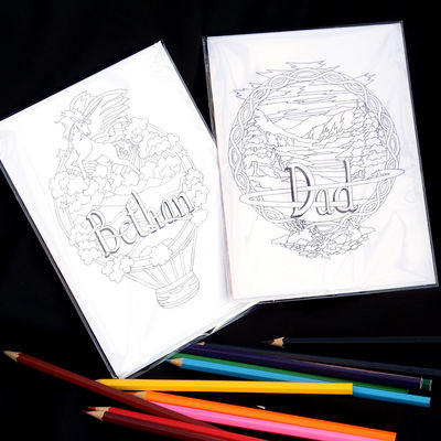 Examples of two of the colouring card collection ( pencils not included). You can have any name woven within the designs, colour and send or send to be colour. A unique card.
