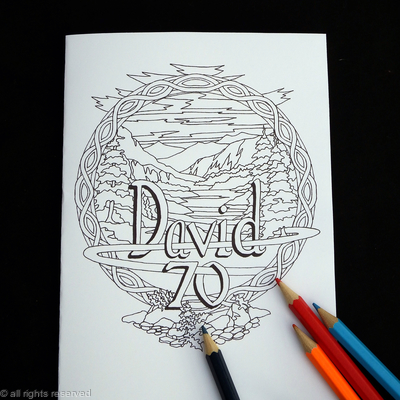 DAVID 70 example of bespoke colouring card. Any number, any name. colour and send or send to be coloured. Purchase on pay-pal and state name and number.