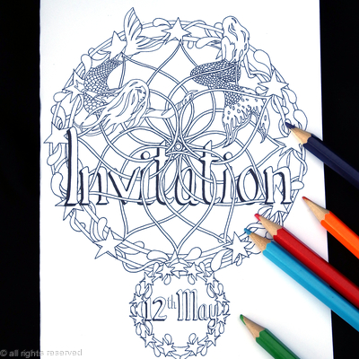 Invitation example with date. Colouring card with mermaids. Colour to send or send to be coloured. buy on Pay pal and say what date you need.