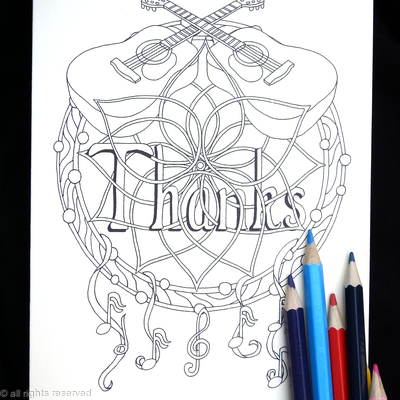 Dream catcher with guitars showing THANKS as an example wording. Any name or word can be woven into this design in this way for you. Colour to send or send to be coloured