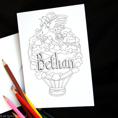 Unicorn and balloon colouring in card with Bethan woven into the design. Any name can be woven in like this for you. Colour to send or send to be coloured
