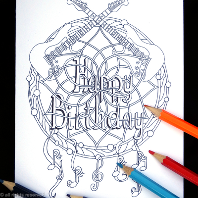 Colouring in card dream catcher with happy birthday woven into it, any name or very short message can be woven in for you. Colour to send or send to be coloured.