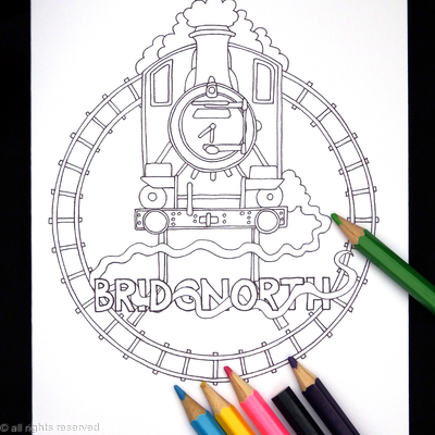 Steam railway colouring in card ( any station available, just contact us). Colour to send or send to be coloured.