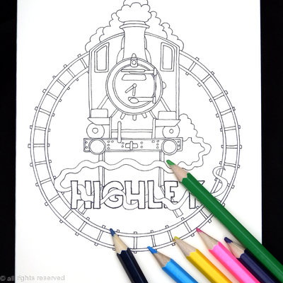 Railway Station ( HIGHLEY, any station name available on request)  colouring card. Colour to send or send to be coloured.