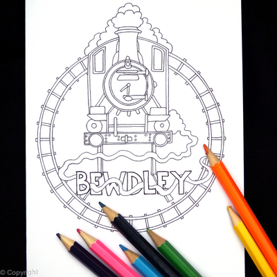 Bewdley railway colouring in card ( any station available, just contact us). Colour to send or send to be coloured.
