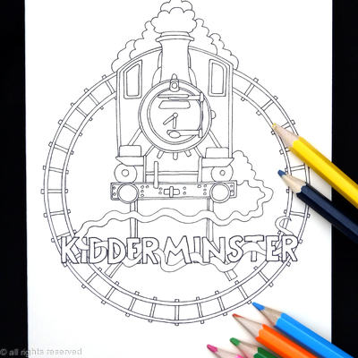 Kidderminster  steam railway colouring card ( You can have any station in the world woven into the design in this way) Colour to send or send to be coloured.