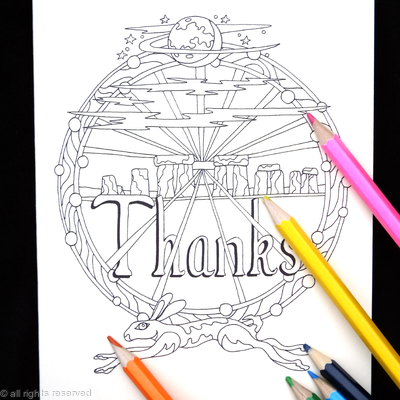 Stonehenge hare and moon Colouring in card ( THANKS as an example, any words can be woven into this design for you). Colour to send or send to be coloured.