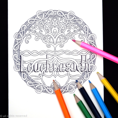 LAUGHNASADH celtic tree colouring card. Colour to send or send to be coloured.