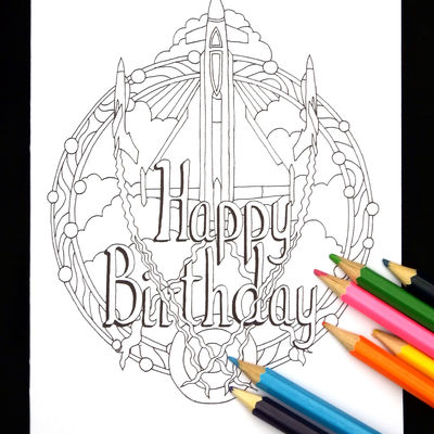 Jet planes colouring in card ( HAPPY BIRTHDAY) any name or words can be woven into the design for you in this way. Colour to send or send to be coloured.