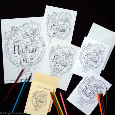 Dragon & Knight Play barn example collection ( your own business name woven into the design). These are colouring in cards, sheets etc. for play barns, restaurants etc.