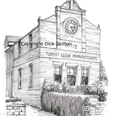 Whitchurch Turret clock Manufacturers Joyce Building pen drawing, printed on a white 6 by 4 greeting card with envelope in a cello bag.