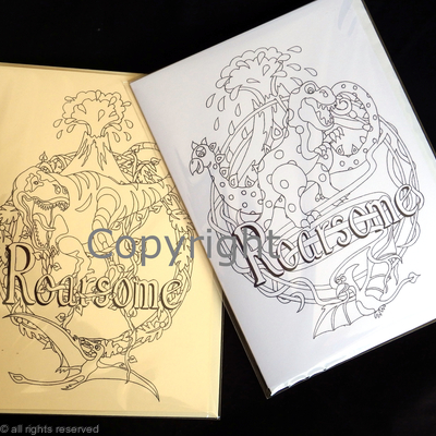 Roarsome Dinosaur colouring in cards, two examples of colouring in cards