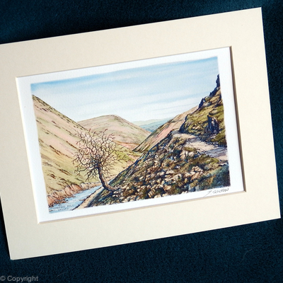 Carding Mill Valley painting as a signed digital print within a 7 by 9 standard frame.
