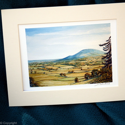 Wrekin from Wenlock Edge, signed digital print within a 7 by 9 inch standard size mount.