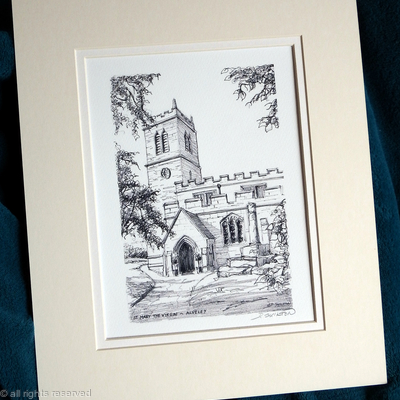 Alveley church St. Mary's digital print on acid free watercolour paper within a 10 by 12 inch double mount.  Cards and postcards available.