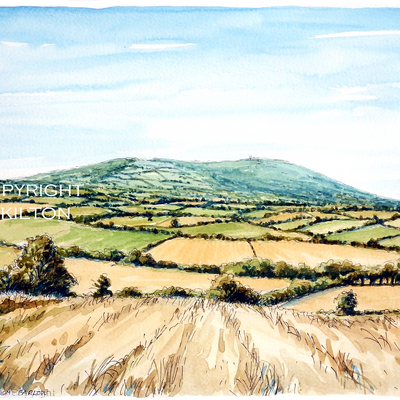 BROWN CLEE from FARLOW pencil, pen and watercolour. This is a card or notelet but prints available, also postcards.