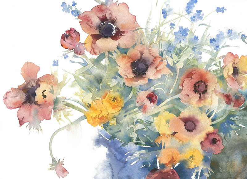 KO.102 bucket of spring flowers - limited edition giclee print