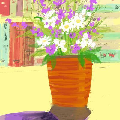 Flowers, bookshelf
