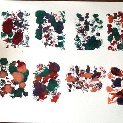 a series of small monoprints by Sue