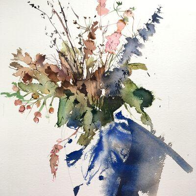 Blue Vase Dry Flowers
