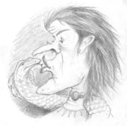 The witch drew the snake towards her face and kissed it