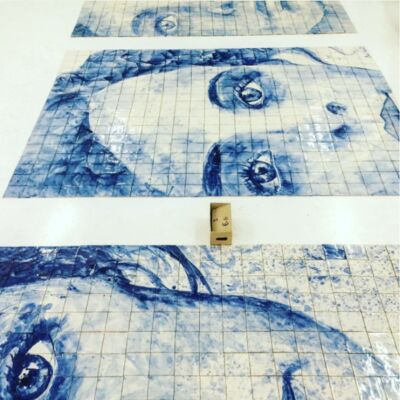 portraits on tiles