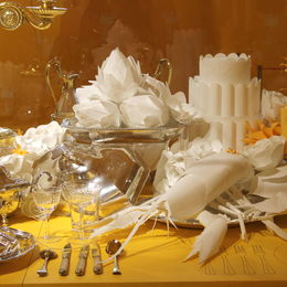 Paper sculptures on banquet table