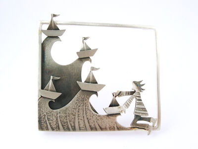 Paper Boats of hopes and dreams cast adrift on stormy seas- framed brooch