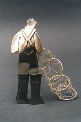 Fisherman with hooped net