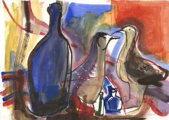 Still Life: Bottles and Birds