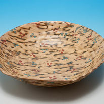 thrown bowl trailed glazes
