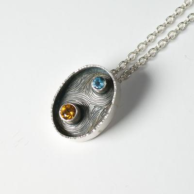 Oxidised oval pendant