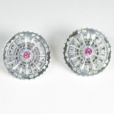 Pink Tourmaline spinning earstuds