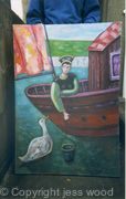 woman, boat and swan